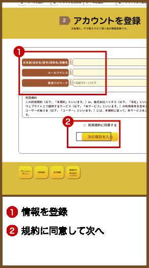 1.情報を登録2.規約に同意して次へ